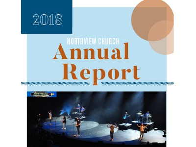 2018 Annual Report brochure cover church clean typography graphic design year in review colorful illustration design modern annual report