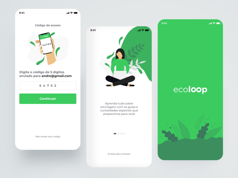 Ecoloop Recycling App vector logo illustration app branding ui uidesign illustrations/ui illustrations green white clean ecoloop mobile recycle app