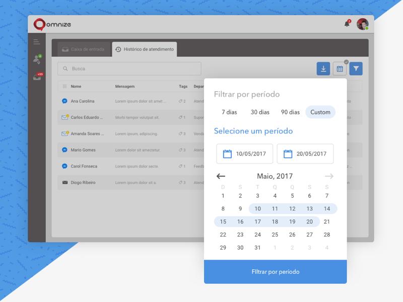 Omnize - Filters responsive interface platform modal message ios calendar ui filter blue