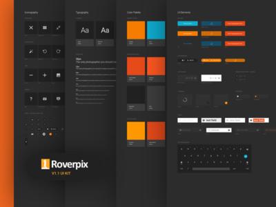 Roverpix UI Kit platform design system ui kit style guide grey dark blue orange