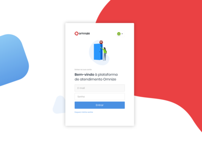 Omnize - Login login page minimalist clean red and blue red prototype invision login ux ui design owl mascot illustration chat branding omnize