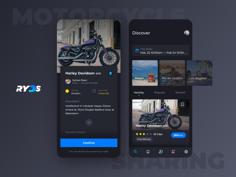 Ryds app share rider motorcycle bike uidesign user interface dark clean app mobile