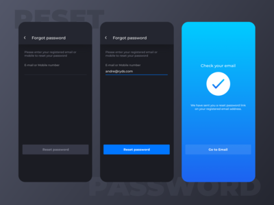 Ryds app - Reset password flow