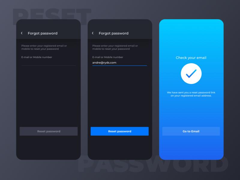 Ryds app - Reset password flow success message form mobile dark ui blue recover password forgot password reset password flow ryds app design
