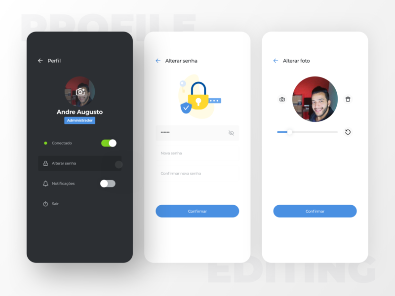 Editing profile flow interface design flow notification toggle profile picture photo password button editing profile ux app ui blue design chat mobile