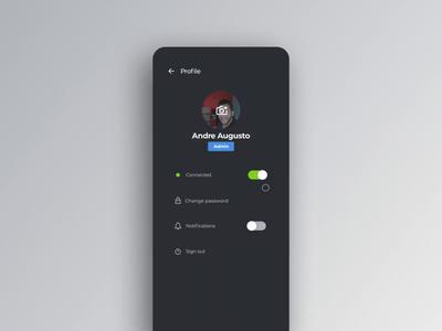 Lock animation (contextualized) animation profile menu toggle change password lock dark ui motion