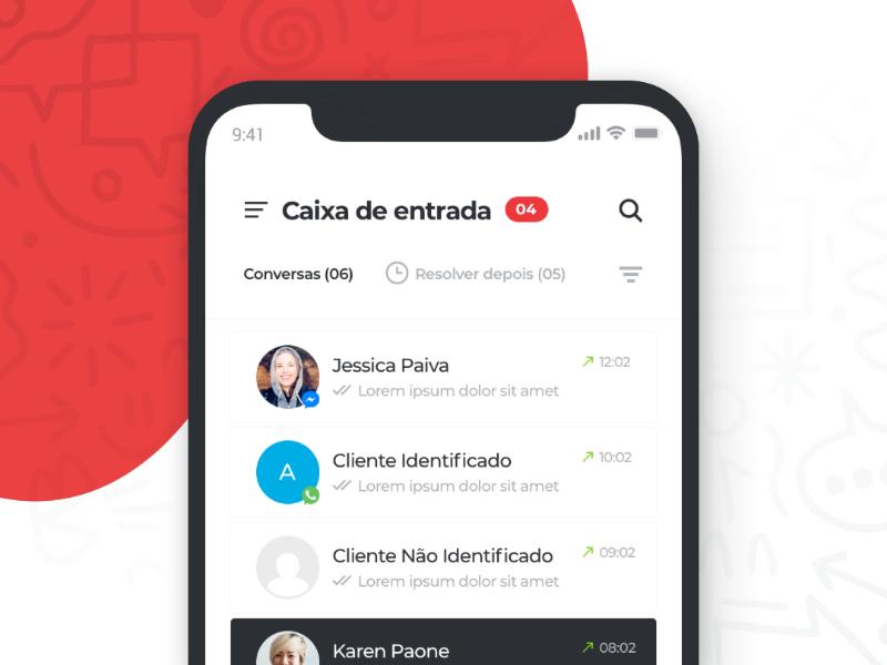 Omnize App webchat facebook whatsapp inbox conversation chat messenger white black red clean interface mobile app omnize