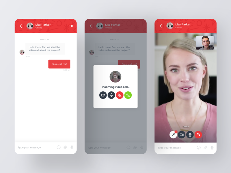 Video call on the website omnize chat mobile red uxdesign design ui incoming video call web chat widget app