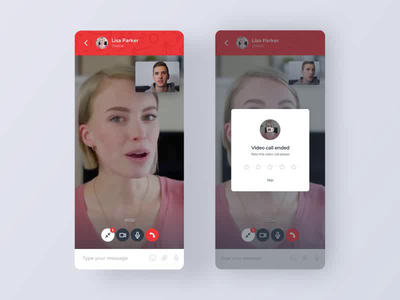 Video call on the website rating modal incoming video call appear in skype hangout messenger chat app widget ui design uxdesign red mobile chat