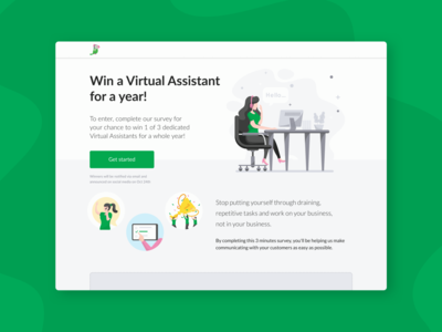 tawk.to Survey Landing Page app win prize illustration call to action faceless branding chat app chat white surveymonkey survey landing page clean grey green tawk.to