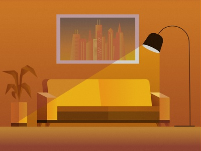 Golden Living photoshop illustrator uruguay plant vegetal city vector light sofa golden living gold