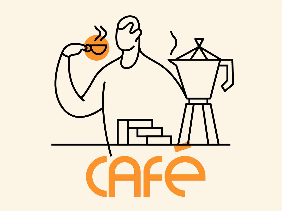 Café de Domingo - Sunday Coffee simple uruguay character minimal clean lineal vector illustration vector sunday coffeeshop