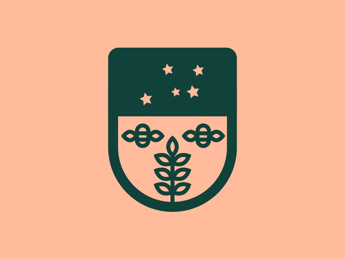 Escudo de Colonia stars bees colonia badge logo flat state illustration lineal simple branding brand shield logo minimal shield escudo