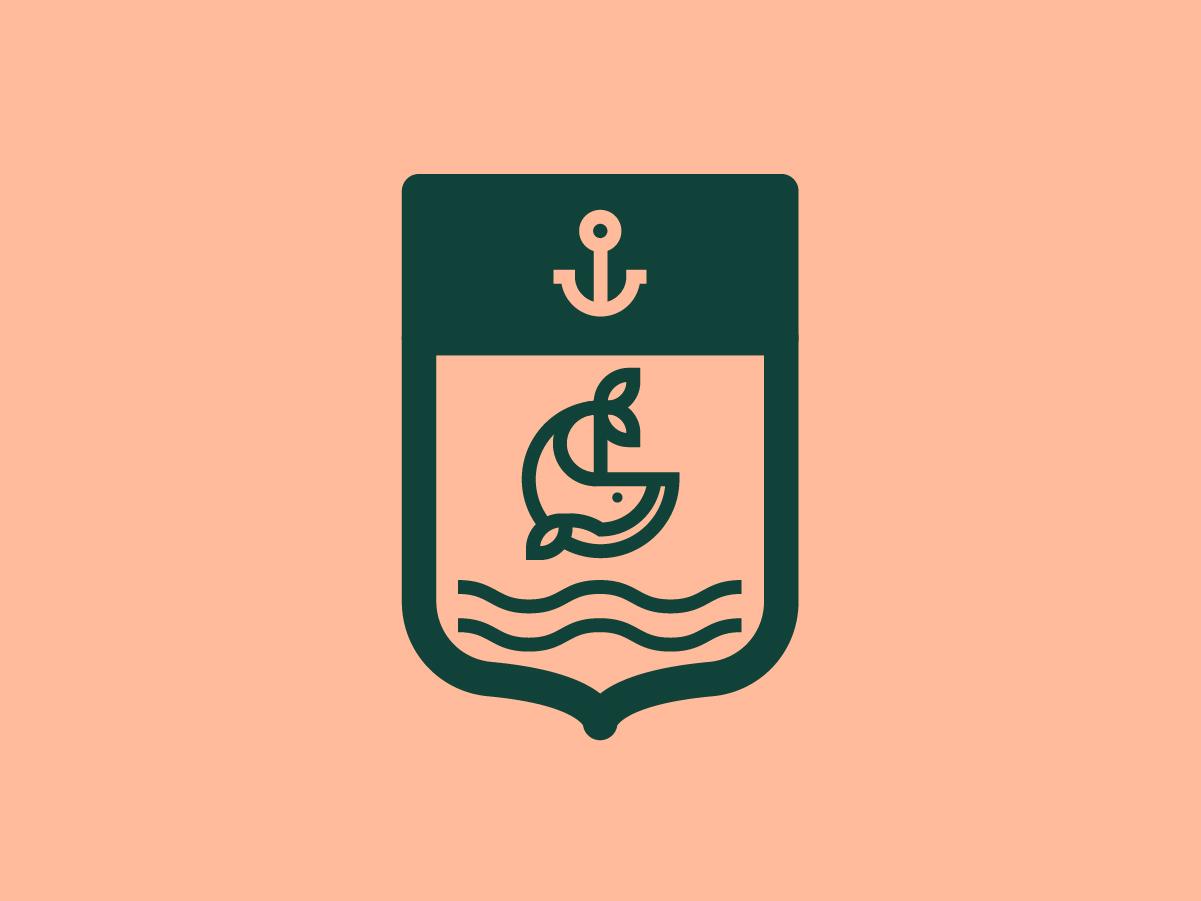 Escudo de Maldonado sea anchora ancla whale maldonado badge logo flat state illustration lineal simple branding brand shield logo minimal shield escudo