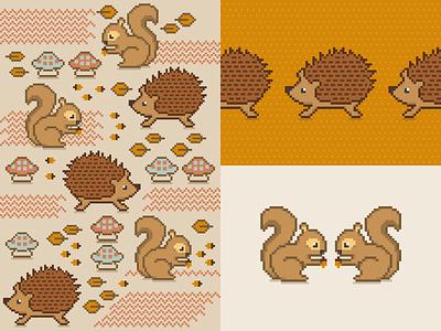 Pixel Animals porcupine squirrel animals pixel pixel art