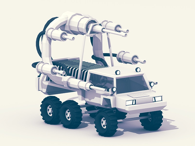 Battle Truck lowpoly ao model render 3d cinema 4d c4d stripes tubes war attack army wheels tires polygons arsenal guns rover land vehicle truck weapons warfare