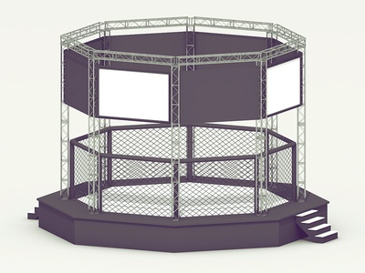 Octagon Cage octagon cage ring fight render model c4d cinema 4d tv screen floor steps stairs fence truss structure
