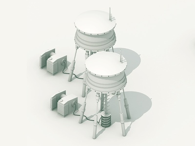 Watertowers 3d model render iso isometric c4d cinema 4d ao towers watertowers water towers generator cable cord power electric