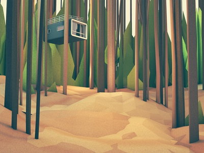 Treehouse treehouse trees forest woods nature house architecture habitat render model lowpoly low poly c4d cinema 4d leaves ground landscape foliage grass
