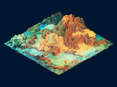 Island ocean water land grass mountains hills cliff peninsula island landscape low poly lowpoly geometry ao cinema 4d c4d isometric iso render 3d