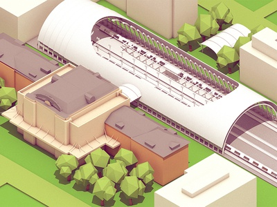 Union Square iso isometric render model c4d cinema 4d buildings architecture town trees landscape blocks cubes station train station tracks rails transit transportation roads grass roof