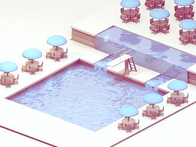 Swimming Pool swimming pool render 3d model c4d cinema 4d pool umbrella chairs diving board water