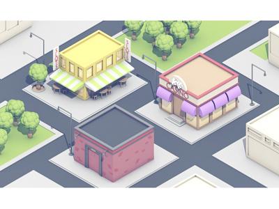 Town town city buildings 3d render models c4d cinema 4d roads lowpoly low poly architecture