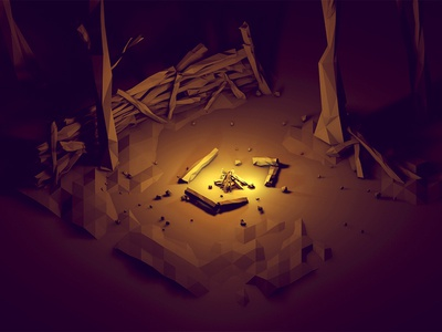 Campfire campfire camp fire fire woods trees landscape 3d render lowpoly low poly cinema 4d