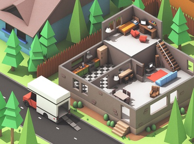 """Moving Out"" Video Game Concept Art renders model digital art 3d art smg studio team 17 science lab lab apartment game art low poly lowpoly c4d 3d illustration render 3d moving out game moving out"