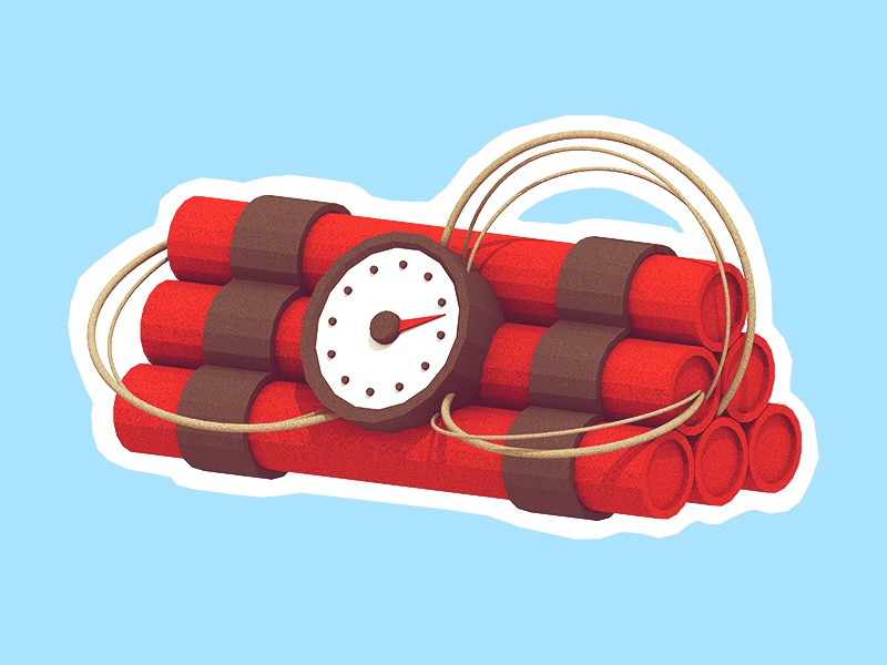 Kaboom! dynamite sticks clock wire sticker tnt dynamite model 3d render acme low poly lowpoly