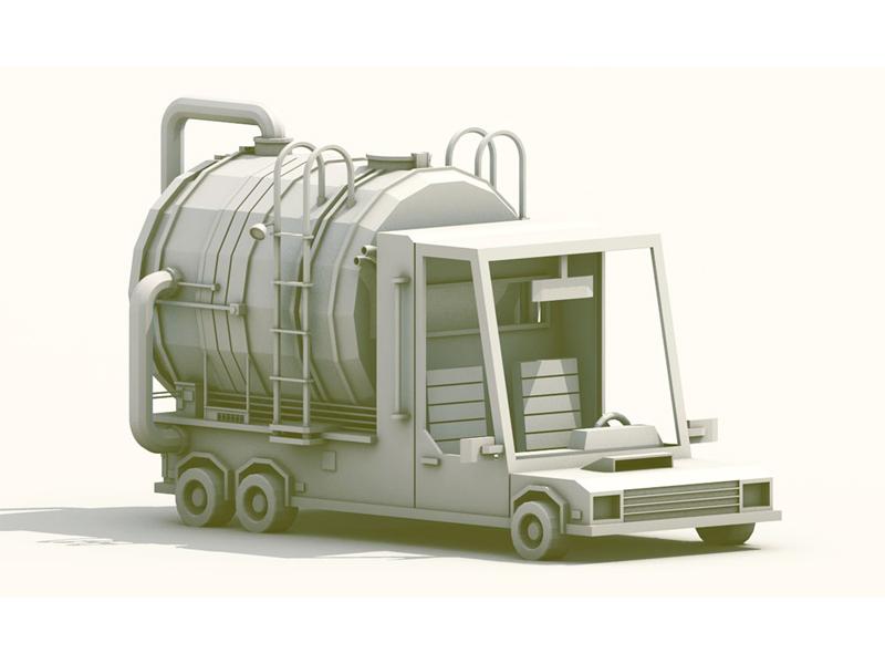 Street Sweeper truck vehicle render model c4d cinema 4d lowpoly low poly car wheels tires