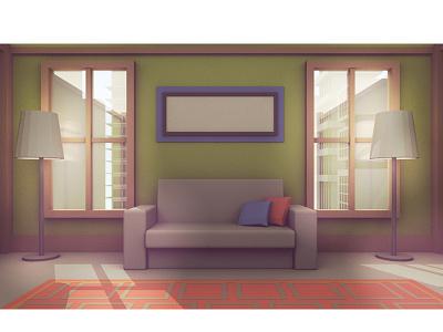 Living Room (frame test) skyscraper city background room house illustration model cinema 4d c4d 3d lighting living room