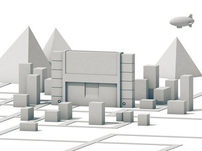 SNES City Concept pyramid cart cartridge blimp illustration city isometric architecture landscape model cinema 4d c4d render 3d super nintendo snes