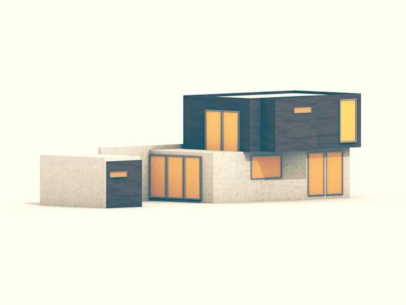 Modern Home facade concrete wood home house architecture modern windows render 3d model c4d