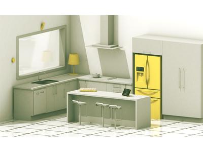 High-Tech Kitchen high-tech editorial home kitchen future tech render model 3d c4d cinema 4d fridge