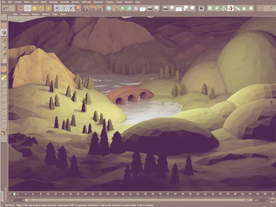Out Of The Shire [WIP] 3d render hobbiton hobbits land shire lotr lord of the rings trees lowpoly cinema 4d landscape