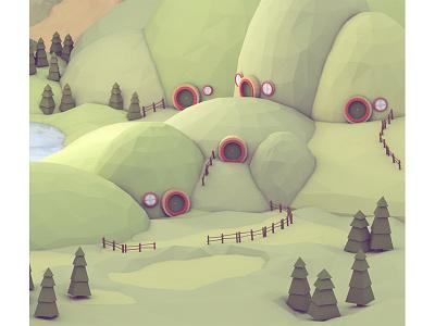 Hobbit Holes landscape hobbit house home 3d render lotr shire hobbiton trees c4d fence