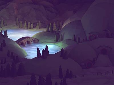 Night Scene night hobbit hobbiton landscape render 3d model lowpoly lake water