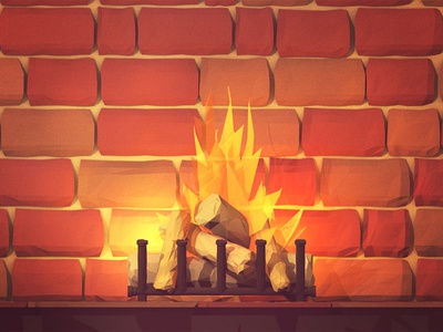 Yule Log flames wallpaper yule log fire wood chimney brick fireplace 3d render light holidays