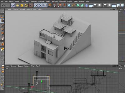 Modern Home [Commission] c4d cinema 4d 3d render architecture house home modern prefab hillside backyard deck