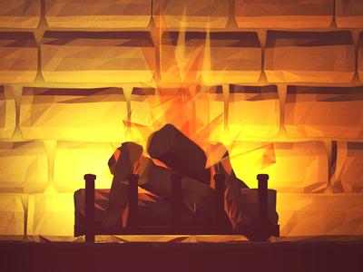 Yule Log [Alternate/Poolga] illustration render wallpaper poolga fire yule log yule log chimney fireplace heat 3d