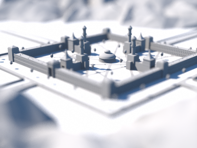 Castle / Courtyard Study dof illustration c4d trees walls fortified road path scale human people octane render 3d castle courtyard