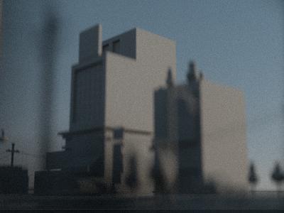 City Scene trees illustration study dof architecture power lines city c4d render 3d octane
