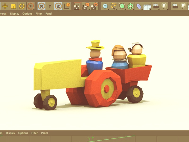 Childhood Revisited [Group Show] fisher-price toy tractor little people 80s toy wheels farm 3d render low poly lowpoly model