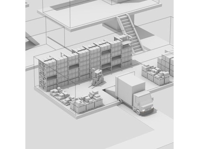 Warehouse Level line boxes cargo stairs steps c4d render 3d art levels lorry truck forklift warehouse