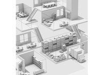 Levels stairs steps desk commercial retail office warehouse cargo 2d linework sketch and toon levels illustration architecture model cinema 4d c4d render 3d box truck