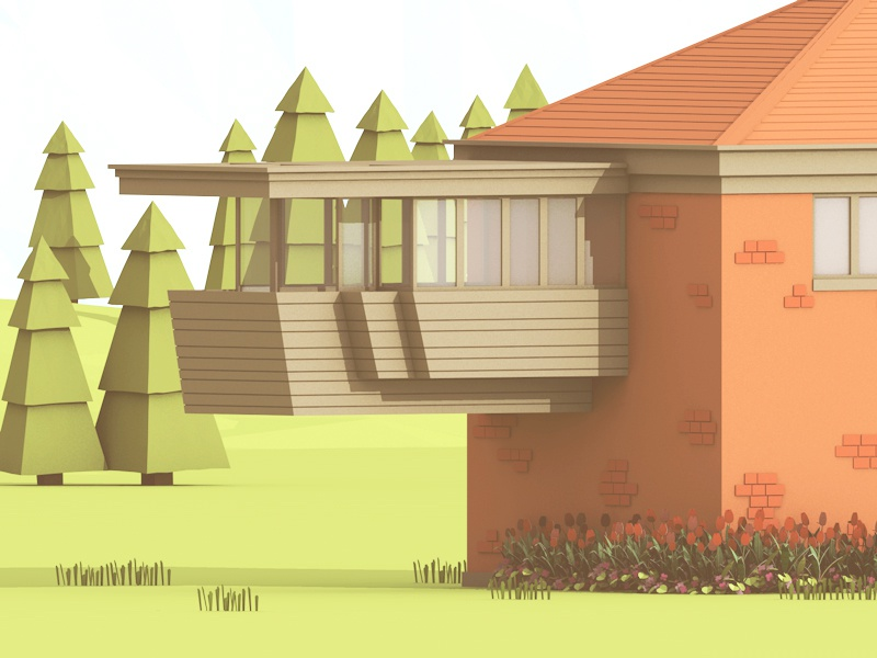 Project Wisconsin - FLW racine architecture home house flw frank lloyd wright wingspread wi wisconsin 3d render cantilever