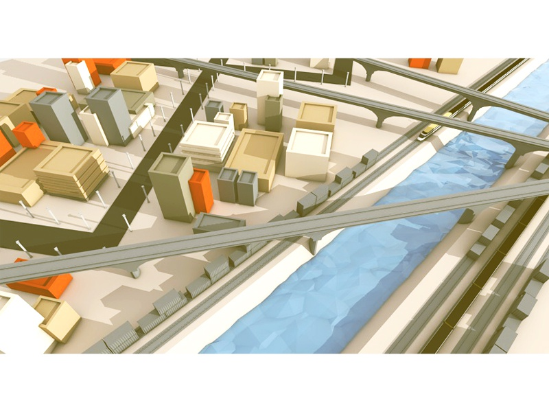 SNCF (Level 01/10) lowpoly low poly trains tracks canal city town roads architecture sncf