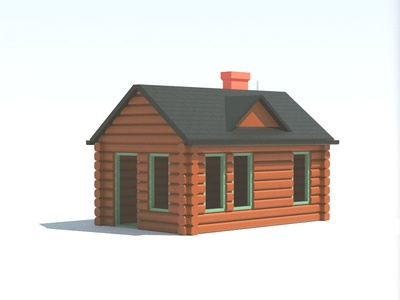 Cabin cinema4d octane c4d render 3d log cabin lumber chimney nature woods wood cabin