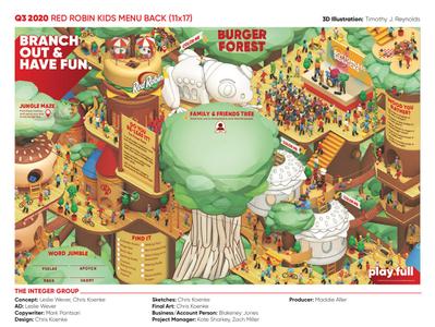 "Red Robin Q4 Kids Menu - ""Burger Forest"" 3d crayons kids menu deck restaurant diner woods trees people character cinema 4d c4d burgers burger"